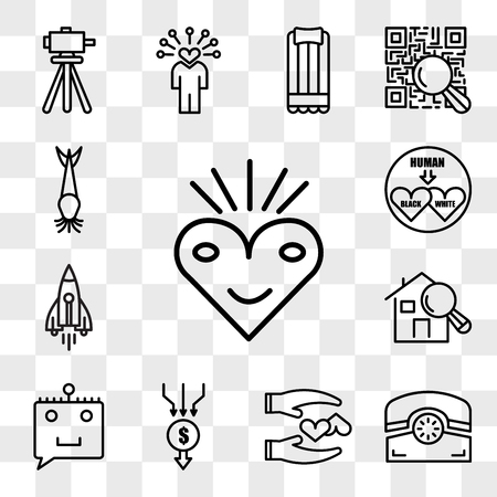 Set Of 13 transparent editable icons such as bliss, phone, loyal, aggregator, chat bot, home inspector, stellar lumens, interracial, catfish, web ui icon pack, transparency set 向量圖像