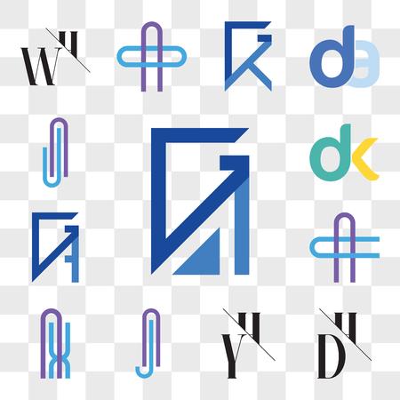 Set Of 13 transparent editable icons such as GA, AG, DH, HD, YH, HY, Aj or jA Letter, AX XA AC CA GB, BG, dk, kd, AJ JA web ui icon pack, transparency set
