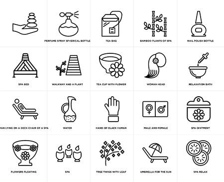 Ensemble de 20 icônes modifiables simples telles que bain de relaxation, brindilles d'arbre avec feuille, Spa, lit spa, fleur de tasse de thé, pack d'icônes de l'interface utilisateur Web, pixel parfait Vecteurs