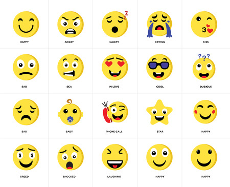 Set Of 20 icons such as Happy, Laughing, Shocked, Greed, Kiss, Cool, Phone call, Sad, Sca, Sleepy, web UI editable icon pack, pixel perfect