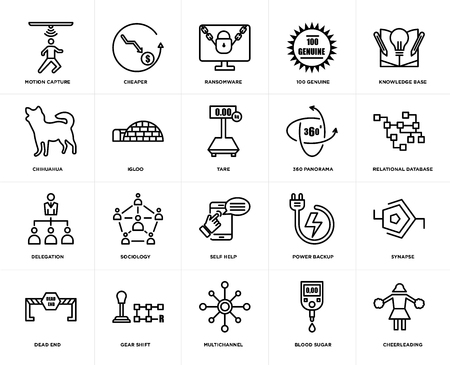 Set Of 20 simple editable icons such as cheerleading, relational database, knowledge base, 100 genuine, dead end, cheaper, power backup, chihuahua, web UI icon pack, pixel perfect Illustration