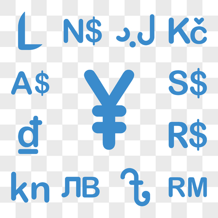 Set Of 13 transparent icons such as China currency, Malaysia Bangladesh Kyrgyzstan Cape Verde Brazil web ui editable icon pack, transparency