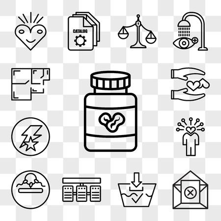 Set von 13 transparenten bearbeitbaren Symbolen wie Erdnussbutter, Abbestellen, Waschen, Server-Stack, Unfruchtbarkeit, Soft Skills, Flash-Running, Loyal, Grundriss, Web-UI-Icon-Pack, Transparenz-Set