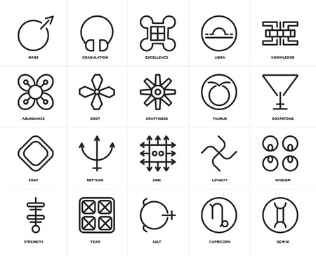Set Of 20 icons such as Gemini, Capricorn, Salt, Year, Strength, Knowledge, Taurus, Zinc, Soap, Soot, Excellence, web UI editable icon pack, pixel perfect Ilustração