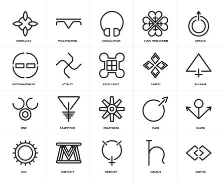 Satz von 20 Symbolen wie Gerechtigkeit, Uranus, Merkur, Einfallsreichtum, Sonne, Sicherheit, Handwerk, Zink, Loyalität, Gerinnung, bearbeitbares Icon-Paket für die Web-UI, Pixel Perfect
