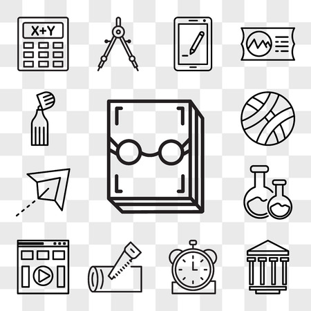 Set Of 13 transparent editable icons such as Literature, History, Clock, Carpentry, Learning, Chemistry, Paper plane, Basketball, Marker, web ui icon pack, transparency set