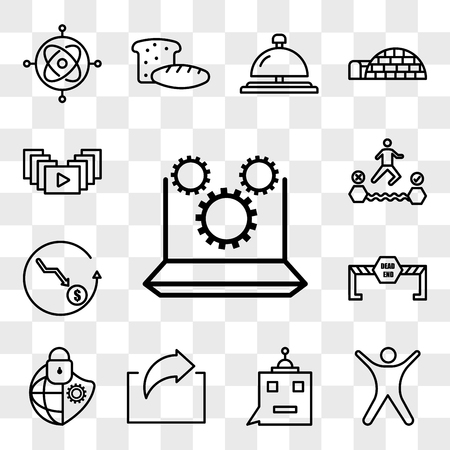 Set Of 13 transparent editable icons such as marketing automation, stickman, , irect, cybersecurity, dead end, cheaper, attempt, video gallery, web ui icon pack, transparency set