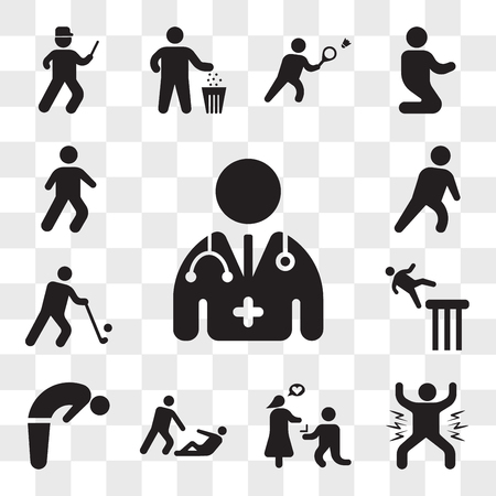 Set Of 13 transparent icons such as Doctor, Man celebrating, Marry me, Helping wounded man, Backbend, Falling Golfer, Exhausted Man, web ui editable icon pack, transparency set Illustration