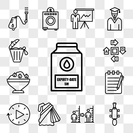 Set Of 13 transparent editable icons such as expiry date, platypus, body mass index, saree, downtime, essay writing, hummus, pdca, solid waste, web ui icon pack, transparency set