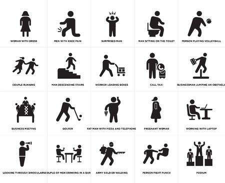 Set Of 20 simple editable icons such as Worker loading boxes, Person fight punch, Army soldier walking, Couple of men drinking in a bar, Call taxi, web UI icon pack, pixel perfect