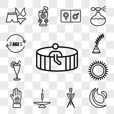 Ensemble de 13 icônes transparentes telles que personne dans le sauna spa et fitness, aiguilles d'acupuncture, bâton d'encens sur une base, main avec une spirale, pack d'icônes modifiable de l'interface utilisateur Web, transparence