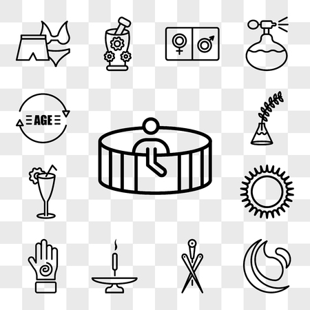 Set Of 13 transparent icons such as Person in spa sauna, and fitness, Acupuncture needles, Incense stick on a base, Hand with an spiral, web ui editable icon pack, transparency 矢量图像