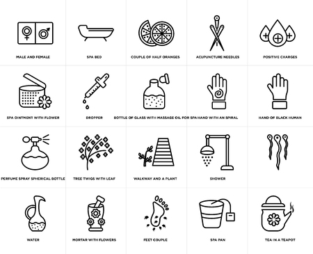 Set Of 20 simple editable icons such as spa bed, Spa pan, positive charges, Mortar with flowers, water, , dropper, web UI icon pack, pixel perfect