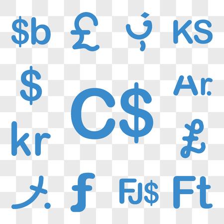 Set Of 13 transparent icons such as Canada currency, Hungary Fiji Aruba Maldives Falkland Islands, Denmark web ui editable icon pack, transparency set