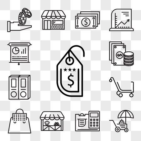 Set Of 13 transparent editable icons such as Price tag, Coin, Cashier, Grocery, Bag, Cart, Folder, Change, Presentation, web ui icon pack, transparency set