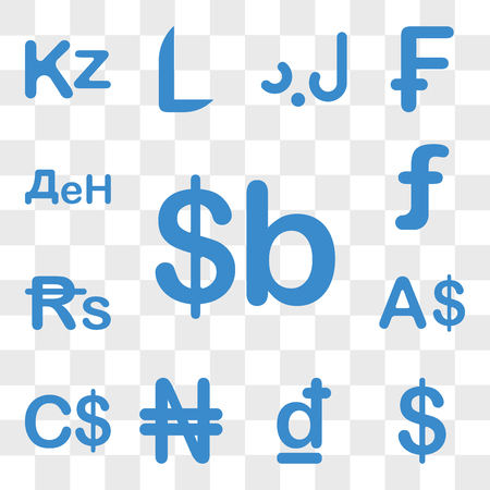 Set Of 13 transparent icons such as Bolivia currency, Colombia Croatia Nigeria Canada Currency web ui editable icon pack, transparency Illustration