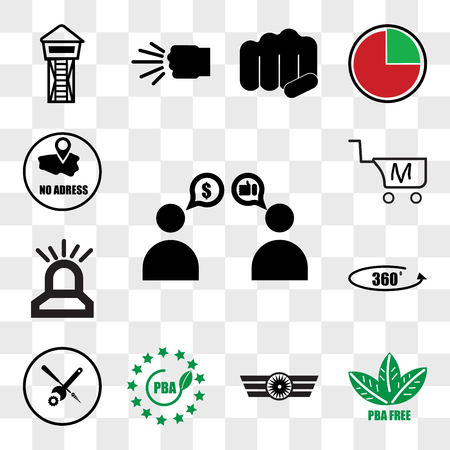 Set Of 13 transparent icons such as sponsorship, bpa free, Airforce, troubleshooting, 360 photo, fire dept, shop cart m letter, web ui editable icon pack, transparency set Illustration