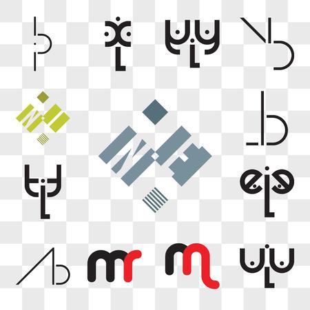 Conjunto de 13 iconos editables transparentes como NE o EN, aLa, mn nm, mr rm, AB, BA, eLe, tLt, BL, LB, NI IN, paquete de iconos web ui, conjunto de transparencia