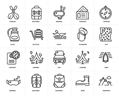 Set Of 20 icons such as Mountain, Boot, Backpack, Snorkel, Compass, Carabiner, Car, Passport, Suitcase, web UI editable icon pack, pixel perfect
