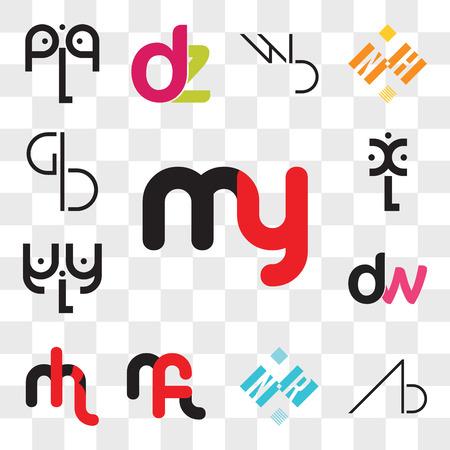 Conjunto de 13 iconos editables transparentes como my o ym, AB, BA, NR RN, mf fm, mk km, dw, wd, aLa, xL, BG, GB, paquete de iconos de interfaz de usuario web, conjunto de transparencia Ilustración de vector