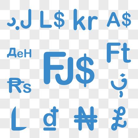 Set Of 13 transparent icons such as Fiji currency, Falkland Islands, Nigeria Croatia Honduras Afghanistan web ui editable icon pack, transparency