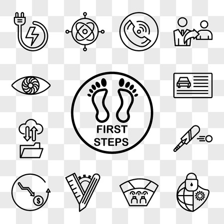Set Of 13 transparent editable icons such as first steps, cybersecurity, cockpit, tailor made, cheaper, cricket bat, ftp, drivers license, hypnosis, web ui icon pack, transparency set