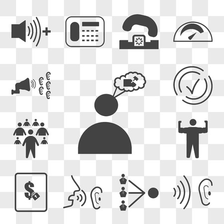 Set Of 13 transparent editable icons such as teaser, whisper, third party, fixed price, arm flex, millennials, compliant, word of mouth, web ui icon pack, transparency set Vetores