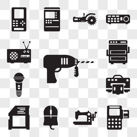Set Of 13 transparent editable icons such as Driller, Debit card, Stiching, Mouse clicker, Video games, Printers, Karaoke, Light bulbs, Antenna, web ui icon pack, transparency set 向量圖像