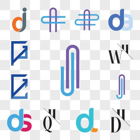 Set Of 13 transparent editable icons such as AJ or JA Letter, DH, HD, dl, ld, QH, HQ, ds, sd, Aj jA GC, CG, WH, HW, GP, PG, web ui icon pack, transparency set Illustration