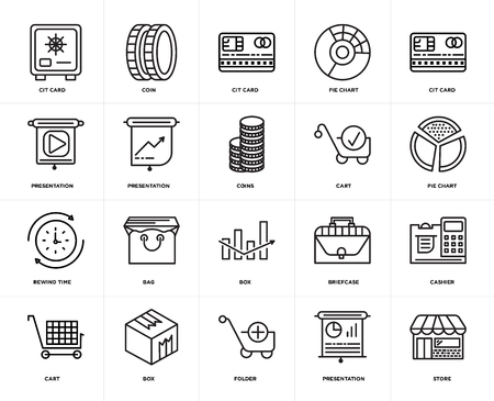 Set Of 20 icons such as Store, Presentation, Folder, Box, Cart, Cit card, Rewind time, web UI editable icon pack, pixel perfect