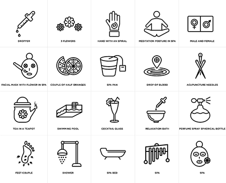 Set Of 20 simple editable icons such as 3 flowers, Spa, male and female, shower, Feet couple, Perfume spray spherical bottle, Couple of half oranges, web UI icon pack, pixel perfect