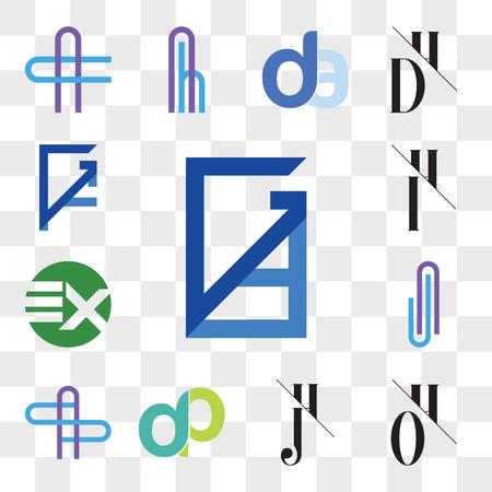 Set Of 13 transparent editable icons such as GD, DG, OH, HO, JH, HJ, dp, pd, AS or SA Letter, AJ JA EX XE, IH, HI, GF, FG, web ui icon pack, transparency set