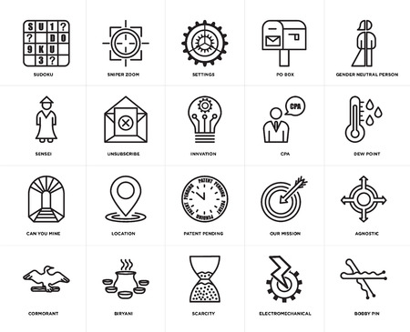 Set Of 20 simple editable icons such as bobby pin, dew point, gender neutral person, po box, cormorant, sniper zoom, our mission, sensei, web UI icon pack, pixel perfect