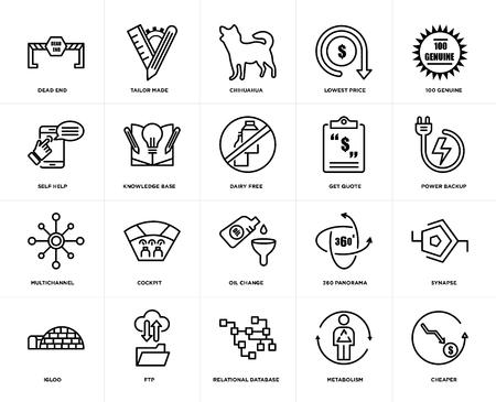 Set von 20 einfach editierbaren Symbolen wie billiger, Power-Backup, 100 echt, niedrigster Preis, Iglu, maßgeschneidert, 360-Panorama, Selbsthilfe, Web-UI-Icon-Pack, Pixel Perfect
