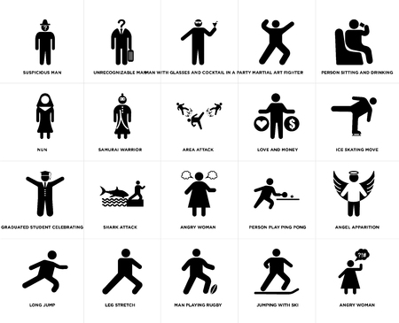 Set Of 20 simple editable icons such as Ice skating move, Man Playing Rugby, Leg stretch, Nun, Area attack, web UI icon pack, pixel perfect
