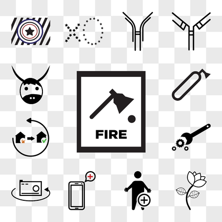 Set Of 13 transparent icons such as fire dept, beauty parlour, occupational therapy, telemedicine, 360 photo, troubleshooting, disaster recovery, web ui editable icon pack, transparency set