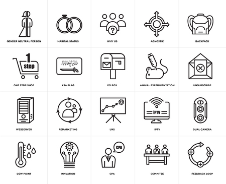 Set Of 20 simple editable icons such as feedback loop, unsubscribe, Backpack, agnostic, dew point, marital status, iptv, one stop shop, web UI icon pack, pixel perfect
