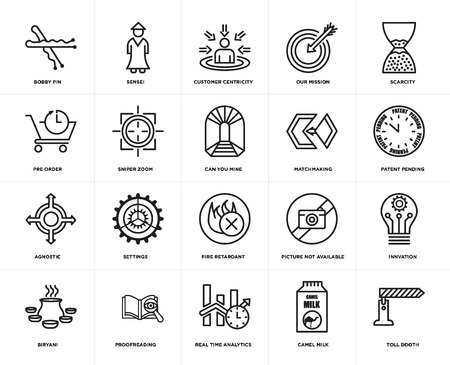 Set Of 20 simple editable icons such as toll booth, patent pending, scarcity, our mission, biryani, sensei, picture not available, pre order, web UI icon pack, pixel perfect  イラスト・ベクター素材