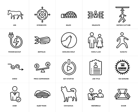 Set Of 20 icons such as chair, referrals, chihuahua, sleep mask, user, motion capture, family law, get started, avoid, zeppelin, igloo, web UI editable icon pack, pixel perfect Stock Illustratie