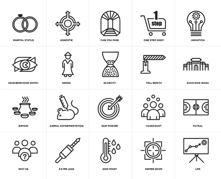 Set Of 20 icons such as lms, sniper zoom, dew point, 3.5 mm jack, why us, innvation, toll booth, our mission, biryani, sensei, can you mine, web UI editable icon pack, pixel perfect Vektoros illusztráció