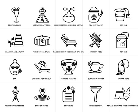 Set Of 20 simple editable icons such as Aromatherapy tool, Massages Spa pan, drop of blood, Acupuncture needles, Woman head, Person in spa sauna, web UI icon pack, pixel perfect