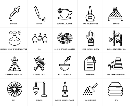 Set Of 20 simple editable icons such as spa, Bamboo plants of spa bed, nail polish bottle, fan, broom, brochure, Perfume spray spherical web UI icon pack, pixel perfect