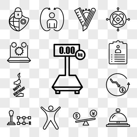 Ensemble de 13 icônes transparentes telles que tare, cloche de concierge, comparaison de prix, stickman, changement de vitesse, moins cher, 1er anniversaire, titre de poste, pack d'icônes modifiables de l'interface utilisateur Web, ensemble de transparence Vecteurs