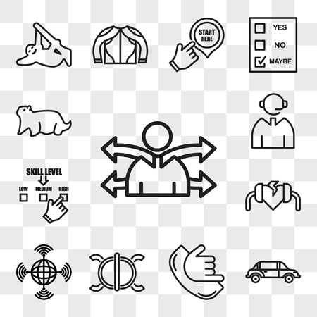 Set Of 13 transparent editable icons such as versatility, limo, call me, perseverance, wan, defibrillator, skill level, graphic dispatcher., groundhog, web ui icon pack, transparency set