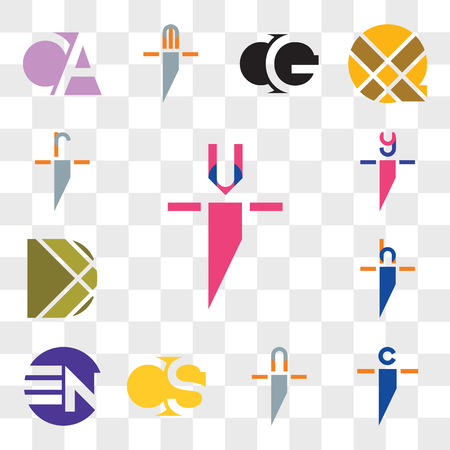 Set Of 13 transparent editable icons such as ui iu, ci ic, ni in, CS SC, EN NE, hi ih, D Letter, yi iy, ri ir, web icon pack, transparency set