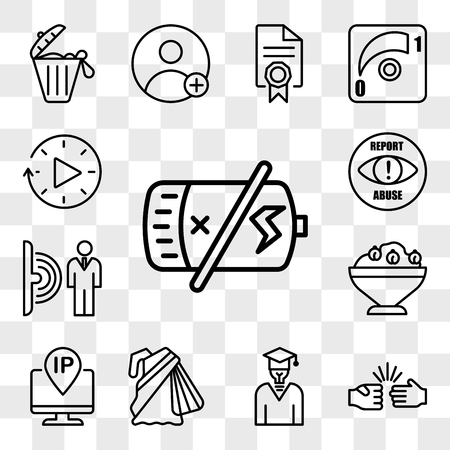 Set Of 13 transparent icons such as dead battery, rock paper scissors, general knowledge, saree, ip address, hummus, motion sensor, report abuse, web ui editable icon pack, transparency set