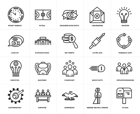 Set Of 20 simple editable icons such as po box, feedback loop, smarter, unsubscribe, customisation, futsal, quick facts, livechat, web UI icon pack, pixel perfect Stock Illustratie