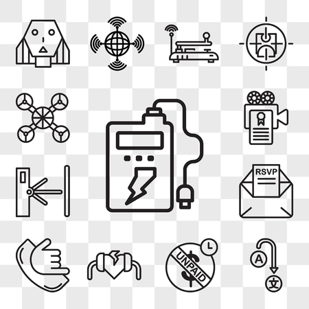 Set Of 13 transparent editable icons such as powerbank, change language, unpaid, defibrillator, call me, rsvp, turnstile, screenplay, free drone, web ui icon pack, transparency set
