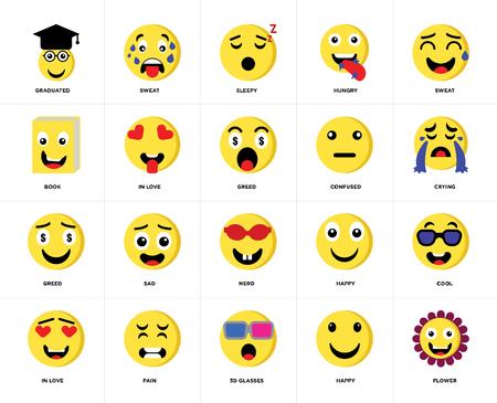 Ensemble de 20 icônes telles que Flower, Happy, lunettes 3d, Pain, In love, Sweat, Confused, Nerd, Greed, Sleepy, pack d'icônes modifiables pour l'interface utilisateur Web, pixel perfect Vecteurs