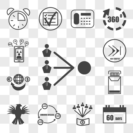 Set Of 13 transparent icons such as third party, 60 days, employee benefits, chronic disease, griffin, cigarette pack, remittance, chapter, web ui editable icon transparency set